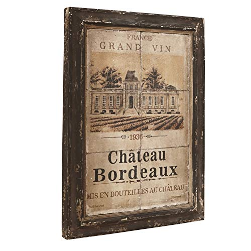 Loberon Bild Chateau Bordeaux, Polyresin, H/B/T ca. 66/46 / 3,5 cm, Dunkelbraun/beige