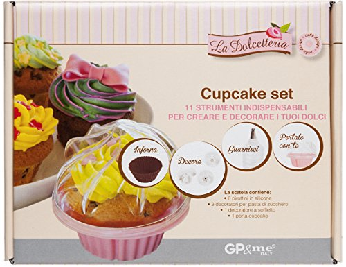 GP & Me la DOLCETTERIA Set Outils pour Cupcakes, Plastique, Rouge, 24 x 19.5 x 9.5 cm
