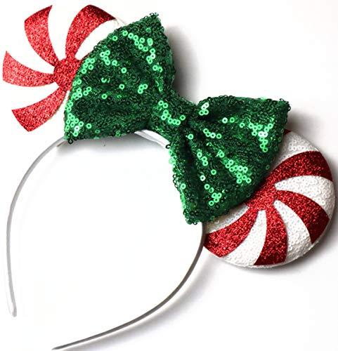 CLGIFT Red peppermint Minnie ears, Peppermint Mickey ears, Christmas Minnie ears, Silver gold blue minnie ears, Rainbow Sparkle Mouse Ears,Classic Red Sequin Minnie Ears (Christmas Candy Cane)