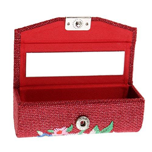 T TOOYFUL Linens & Retro Flower Makeup Lipstick Case With Mirror - Gardez Les Femmes Cosmétiques Rouge à Lèvres Dans Le Style - Vin rouge
