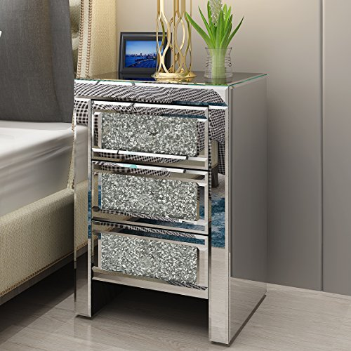 Mirrored Glass Bedside Table Unit with 3 Drawer and Crystal Handles Modern Bedroom Nightstand Side Table Cabinet for Living Room