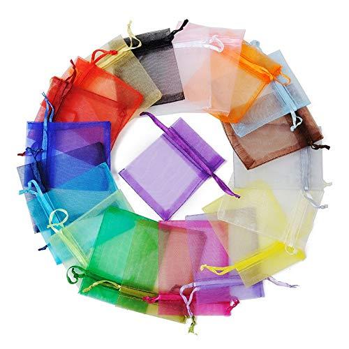 10/20/50/100 bolsas de organza de 7 x 9 cm, bolsa con cordón para regalo de joyería y pendientes YC0221 (color aleatorio mezclado, tamaño: 7 x 9 cm, 50 unidades)