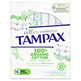Tampax Cotton Protection Super Avec Applicateur Cœur de Tampon en Coton Biologique, 16 Tampons