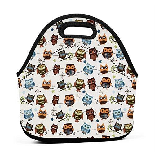Bolsa de almuerzo portátil de neopreno con diseño de búho, bolsa de transporte con correa de cremallera, para picnic, al aire libre, viajes, bolsa de mano de moda para mujeres, hombres, niños y niñas