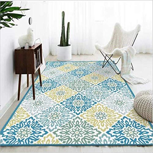 KCMDA Carpet Pad Carpet Non-Slip Square Carpet Living Room With Carpet Geometric Element Pattern Children'S Room With Thick Velvet Carpet Mechanical Wash / 80X160 Cm (2.6X5.2 Ft)