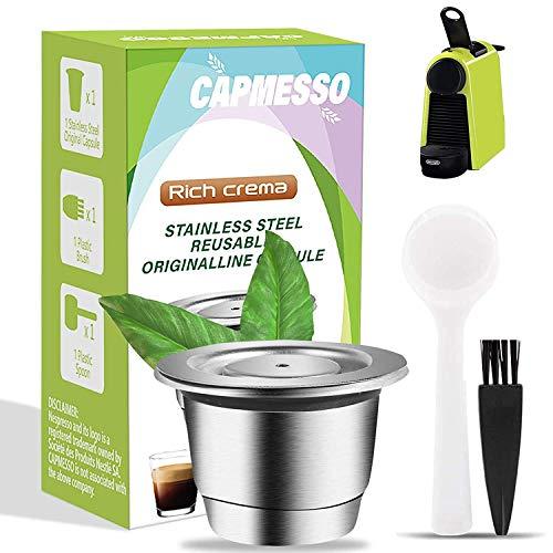 CAPMESSO Wiederverwendbare Kaffeekapseln, Kompatibel mit Nespresso OriginalLine nachfüllbare Espresso-Kapseln Wiederverwendbare Kapsel Espresso-Kaffeepad Edelstahlkapseln (1 Pod Set)