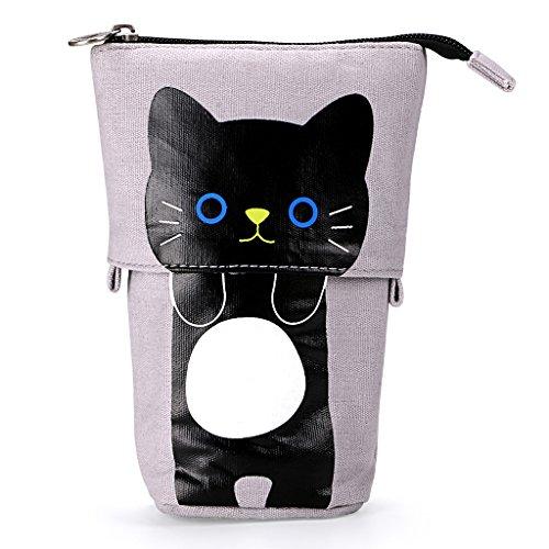 BTSKY Soporte telescópico para lápices de lona variable, lona de dibujos animados, gato, estuche de papelería, estuche, bolsa de almacenamiento para cosméticos, color Black+Grey