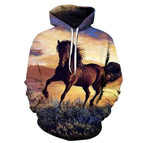 Mary.Yan trui met capuchon voor heren, 3D-print, pullovers, modieus, hoodie, lange mouwen, tassen, unisex Animal Cosplay, paard