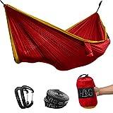 HÄNG - Hamaca doble de seda de paracaídas de 300 x 170 cm. Soporta hasta 200 kg en rojo y dorado. Incluye colgador.