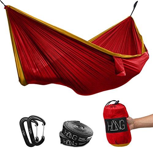 HÄNG - Hamac double en soie de parachute 300 x 170 cm Charge max. 200 kg Rouge & Or Suspension incluse