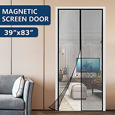 KINCMAX Hands Free Magnetic Screen Door, Upgraded Fiberglass Heavy Duty Quick Screen Door Mesh Curtain with Full Frame Hook&Loop, Kids/Pets Friendly, Fit Doors up to 37 x 82 Inches Max