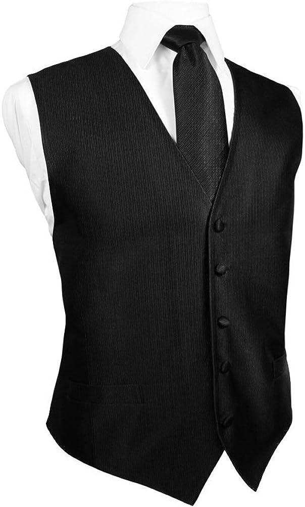 Cardi Men's Faille Silk Tuxedo Vest and Long Tie, Black