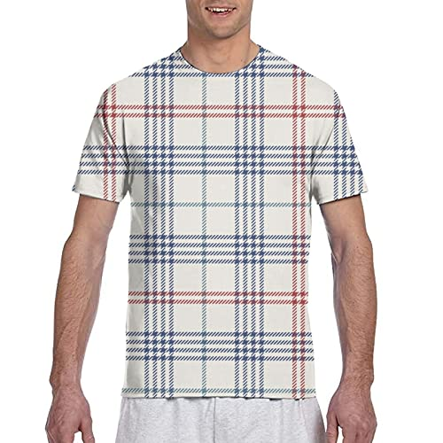 Kteubro Camiseta de manga corta sin costuras con estampado de azulejos a cuadros para hombre