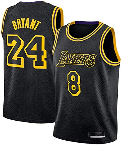 Kobe Bryant Jersey 24 Uniformes de Baloncesto #24 Swingman Jersey Retro Basketball Jerseys de Verano Fan Shirt Chaleco sin Mangas Ropa Deportiva Transpirable (Negro, M-)