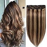 Extension a Clip Cheveux Naturel Monobande Rajout Une Pièce - 100% Vrai Cheveux Humain - #4+27 MARRON CHOCOLAT MECHE BLOND FONCE - 20 cm (40g)
