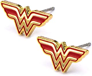 Stainless Steel Post with Wonder Woman Logo Stud Earrings