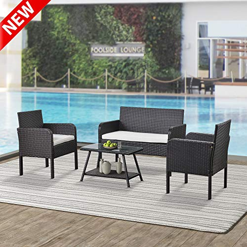 DANGRUUT Best 4 Piece Rattan Sofa Seating Group with Cushions, Patio Furniture Set, Conversation Set, Outdoor Wicker Sofas Rattan Chair with Soft Foam Cushions, Perfect for Pool Backyard Lawn (Beige)