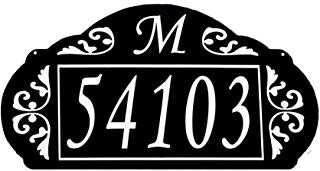 """Address America USA Hand Crafted Reflective House Sign La Paris Design (Black with White Lettering) Elegant Design 4"""" Numbers"""