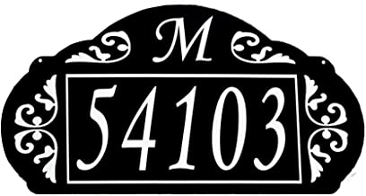 Address America USA Hand Crafted Reflective House Sign La Paris Design (Black with White Lettering) Elegant Design 4