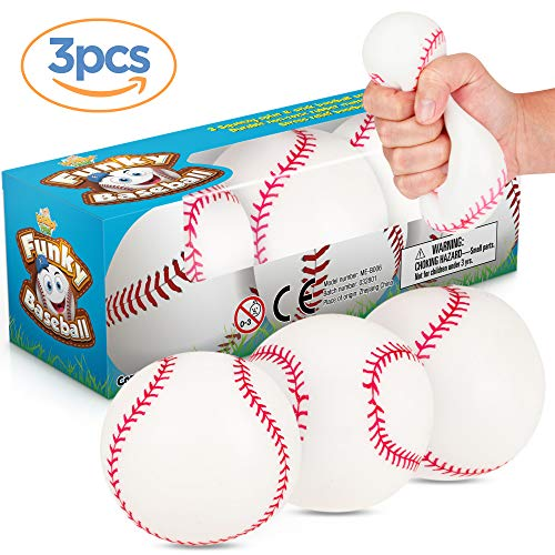 IPIDIPI TOYS Baseballs Splat N Stick Balls 3 Pack Sensory Toy Stocking Stuffers Squishy Moldable Stress Balls  Anxiety Release for Kids and Teens Great for Gift