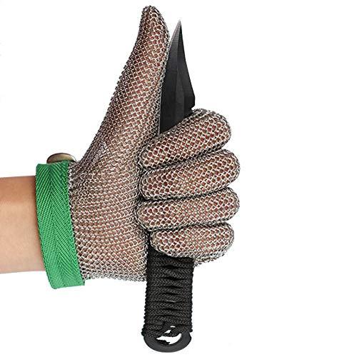 Schnittfeste Handschuhe 304L Edelstahl Cut Resistant Handschuhe, Schlachthaus Glas Schneiden Holzschnitzereien Sicherheitsarbeiten Handschuhe, 6 Größen (Size : Medium)