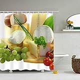 Leona Chesterton Duschvorhang Käse Tomaten Trauben Wasserabweisende Badezimmervorhänge Hochzeitsgeschenke für Männer & Frauen