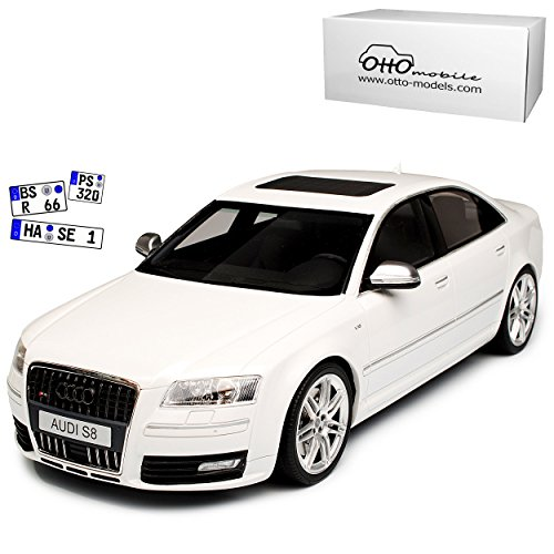 A-U-D-I A8 S8 D3 Weiss Limousine 2. Generation 2002-2010 Nr 699 1/18 Otto Modell Auto