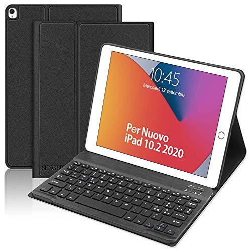 Custodia con Tastiera Italiano per iPad 10.2 2020(8a Gen)/ iPad 10.2 2019(7a Gen)/iPad Air 3/iPad PRO 10.5, SENGBIRCH Bluetooth Rimovibile Tastiera con Smart Cover Sottile Leggero Case, Nero
