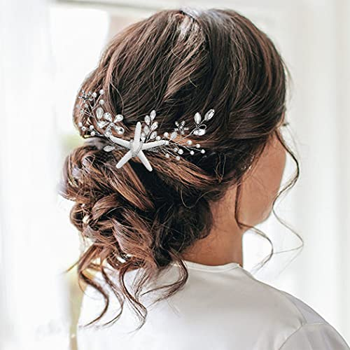 Latious Starfish Bride Wedding Hair Comb Flower Bridal Side Comb Rhinestone Hair Piece Hair Accessorie for Women and Girls