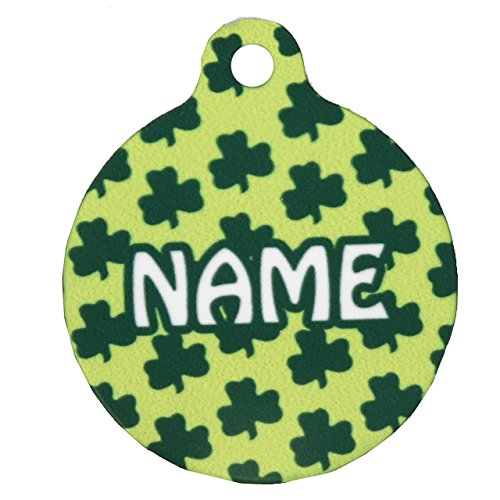 1.5' Petite Shamrocks Personalized Hi-Def Pet ID Tag with Silencer, Large, Yellow Dog Design