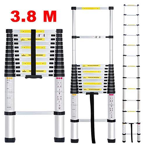 Bowoshen Telescoping Extendable Ladder 12.5ft 12 Steps 330lb Max Load Capacity EN131 Certificated Heavy Duty Step Extension Aluminium Ladder