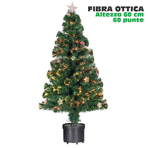 BAKAJI Albero di Natale in Fibra Ottica Modello Stars Alto 60 cm con 60 Punte Luminose e 9 Stelle Colore Verde