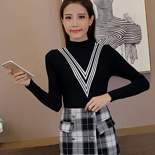 Pullover gebreide trui met lange mouwen Halfhoge kraag Slim-fit overhemd One-size voor dames Wintertops en blouseZwart
