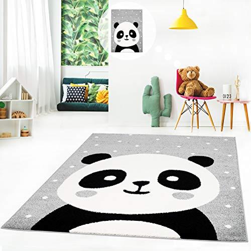MyShop24h Kinderteppich Kurzflor Spielteppich Teppich fürs Kinderzimmer Flachflor mit Panda-Bär weiß gepunktet in 3 Farben, Größe in cm:140 x 200 cm, Farbe:Grau