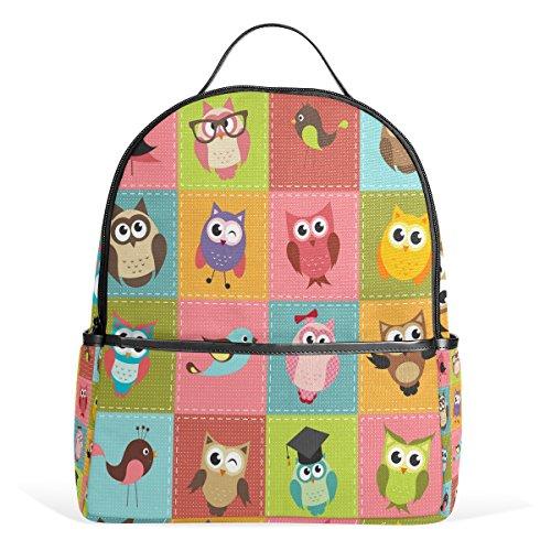 COOSUN Patchwork background con gufi ziani per la scuola per i ragazzi Bookbags ragazze adolescenti Bambini medio Multi # 1