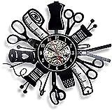 KDBWYC Reloj de Pared de Vinilo Reloj de Costura de Pared de Disco de Vinilo diseño Moderno...