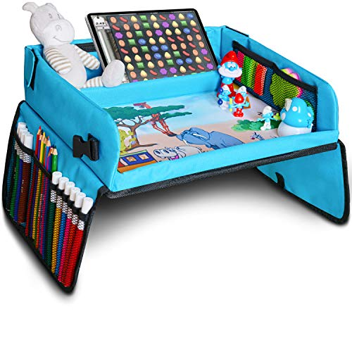 Kids Travel Tray, Kids Art Set, Travel Art Desk for Kids, Activity, Snack, Play Tray & Organizer - Keeps Children Entertained – Portable and Foldable + Storage Bag