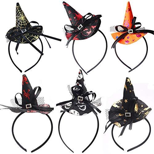 Diademas 6PCS diadema de sombrero de bruja diadema de pelo de plástico disfraz disfrazarse accesorios para el cabello para niñas y mujeres fiesta de halloween, disfraces de celebración, tocado de