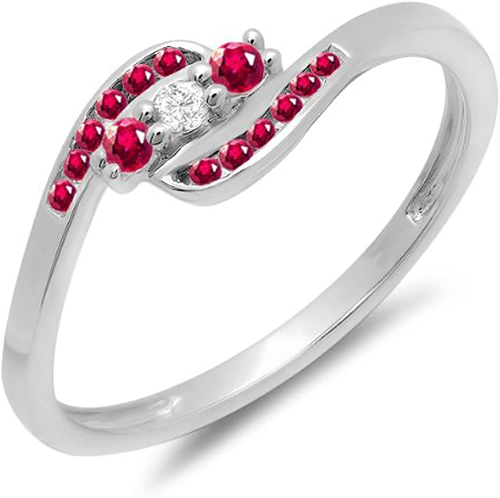 Dazzlingrock Collection 14K Round Ruby And White Diamond Ladies Anniversary Promise Wedding Ring, White Gold