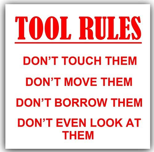Platina Plaats 1 x Gereedschap Regels-Rood op Wit-87x87mm-Sticker,Sign,Notice,Waarschuwing,Joke,Handel,Zak,Gereedschap,Apparatuur,Zak,Accessoires,Van,Auto