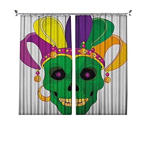 Cortinas plisadas con aislamiento térmico Mardi Gras, diseño de calavera verde con cuentas de carnaval y pendiente estilo de dibujos animados, para travesaños y rieles, multicolor