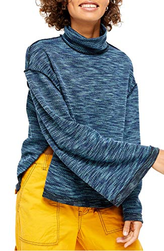 We The Free Womens Sunny Days Knit Oversized Turtleneck Sweater Blue L