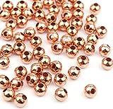 Sadingo Metallperlen Rosegold 10mm 100 Stück, Rocailles Zwischenperlen Armband, Kleine Perlen mit Loch, Schmuck Machen