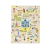 Talking Tables Mapa Multicolor de 250 Piezas de París y póster | Ilustrado | Viajes de monumentos parisinos de Francia | Día lluvioso, en casa, encierro, Regalo de cumpleaños