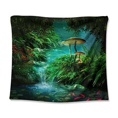 Buyall Scenery Tapestry for Bedroom, Dorm Wall Hanging Tapestry, Home Decoration for Living Room,Waterfalls, Rivers, Lakes, Mountains, Trees, And Bridges,A3,130 * 150cm
