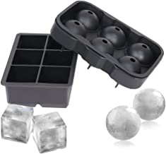 Ice Cube Trays (Set of 2), Silicone Sphere Whiskey Ice Ball Maker with Lids & Large Square Ice Cube Molds for Cocktails & ...