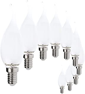 SunSeed 10x Bombilla Vela Llama Filamento LED Opalina E14 4W = 40W Blanco Cálido 2700K