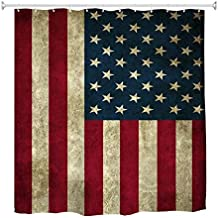Goodbath American USA Flag Shower Curtain Vintage, 4th July Independence Day Fabric Waterproof Bathroom Curtains, 72 x 72 ...