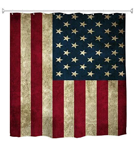 Goodbath Duschvorhang, amerikanische USA-Flagge, Vintage, 4. Juli, Unabhängigkeitstag, Stoff, wasserdicht, Badezimmer, 183 x 183 cm, rustikales Rot, Blau, Weiß