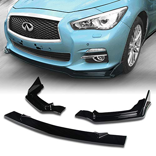 EPARTS 3 Pieces Style Black ABS Front Bumper Lip Spoiler Side Body Kit Trim Protection Fit For 2014-2017 Infiniti Q50 Sport